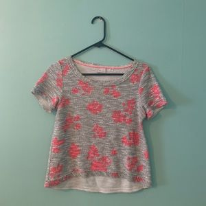 Grey and pink boxy top